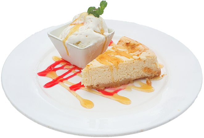Cardo's Menu Fiji. Cheesecake, served with ice-cream